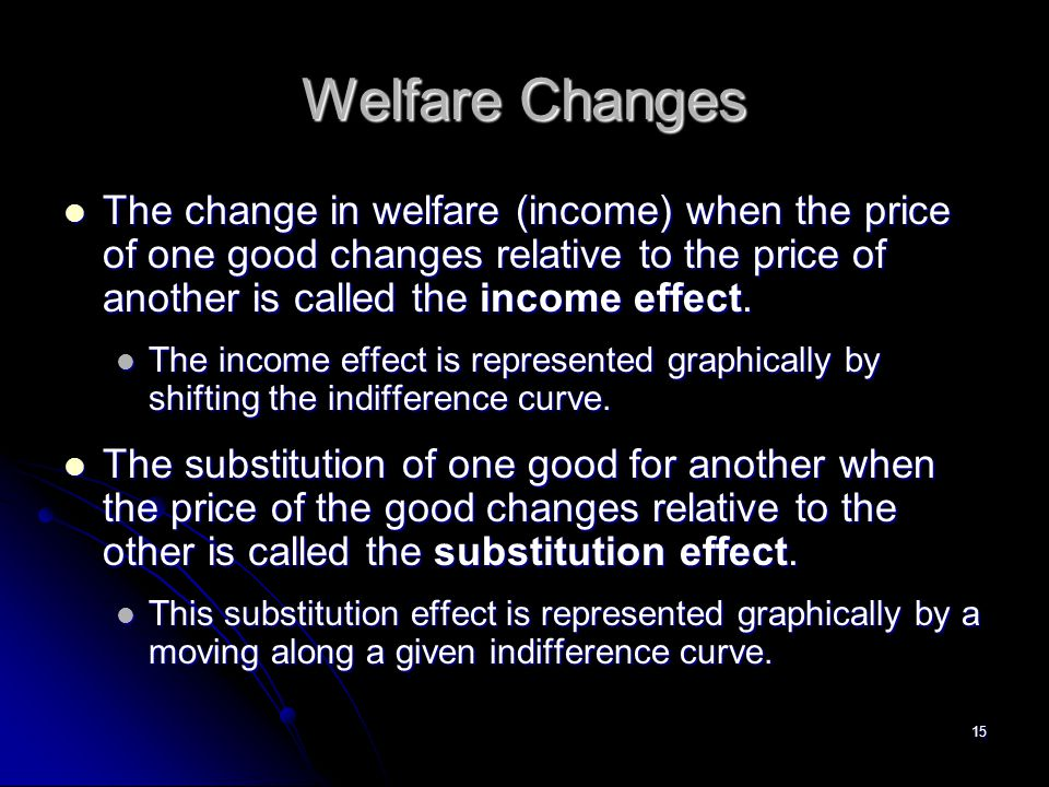 Welfare Changes The change in welfare (income) when the price of one good changes relative to the price of another is called the income effect.