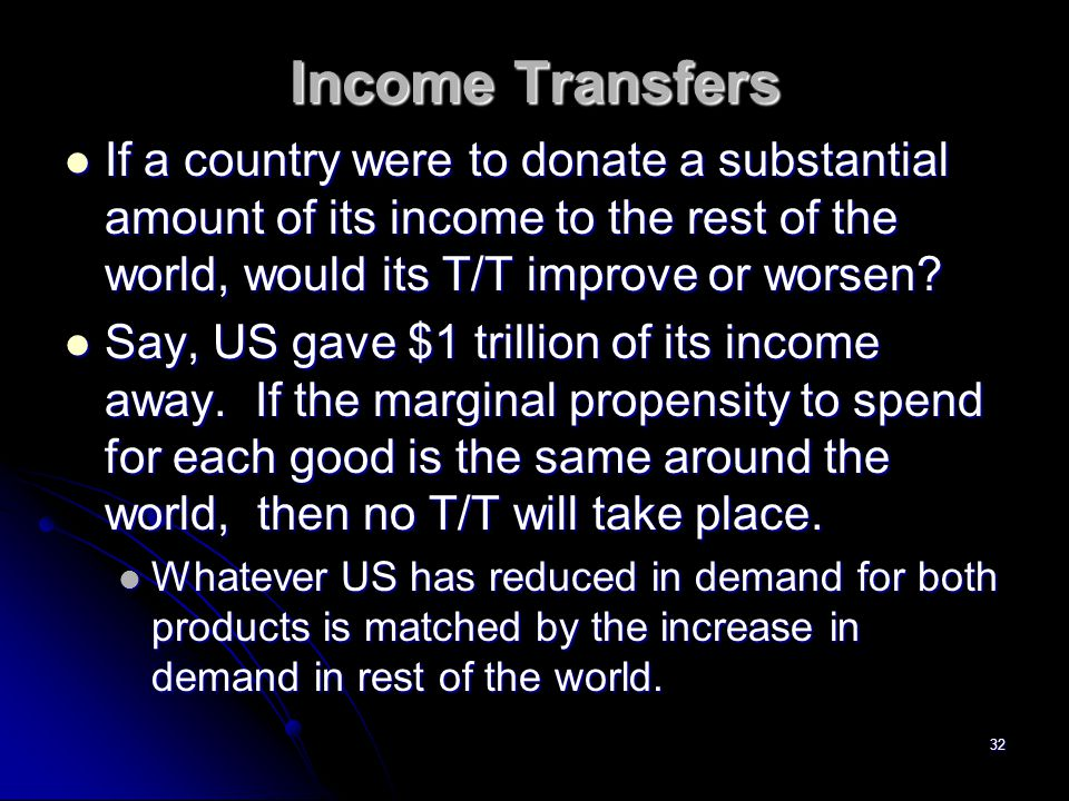 Income Transfers If a country were to donate a substantial amount of its income to the rest of the world, would its T/T improve or worsen