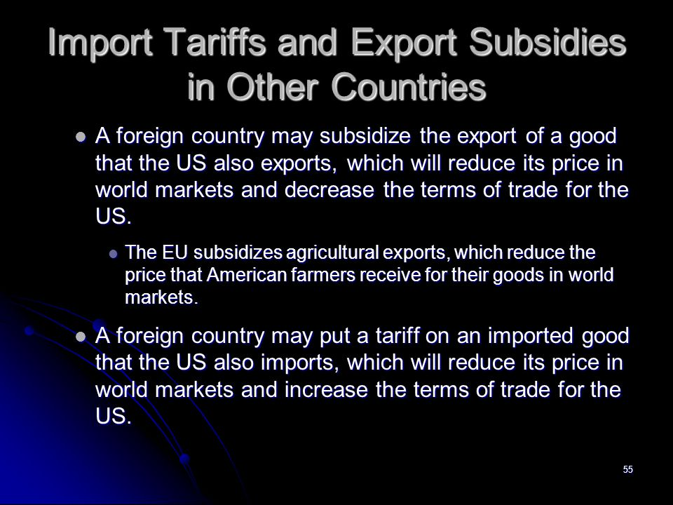 Import Tariffs and Export Subsidies in Other Countries