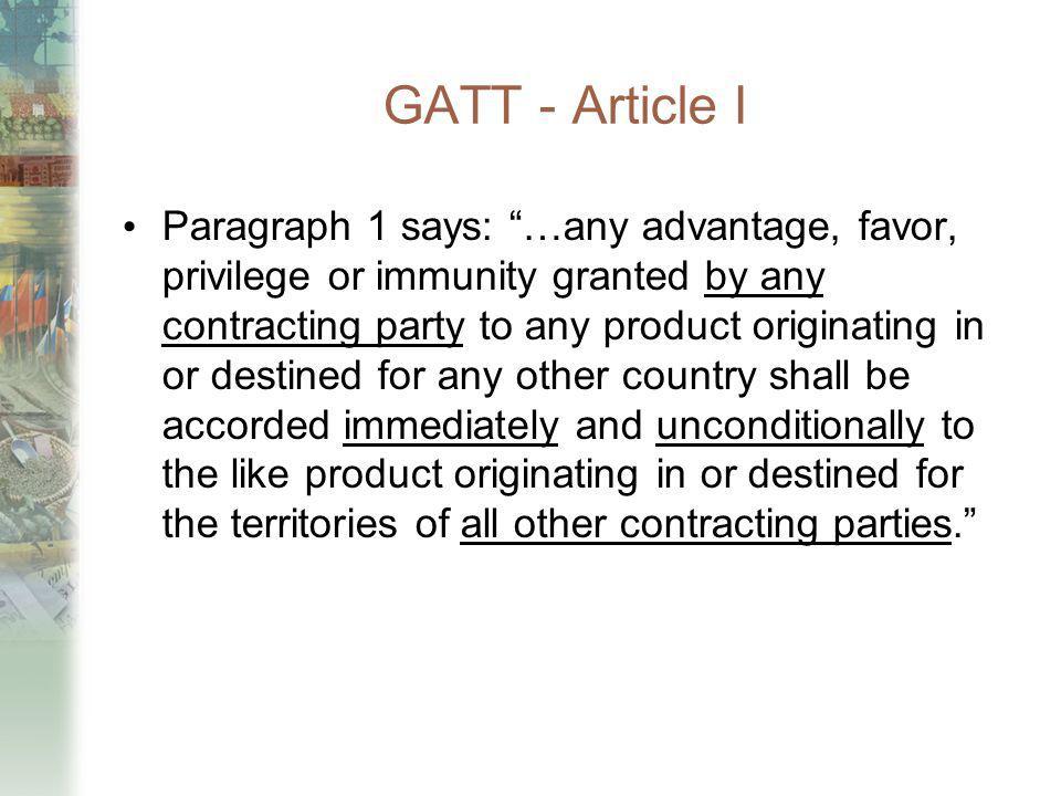 GATT - Article I