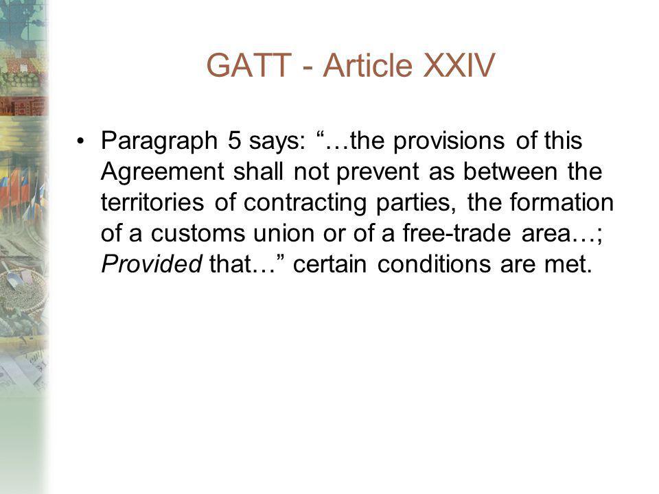 GATT - Article XXIV