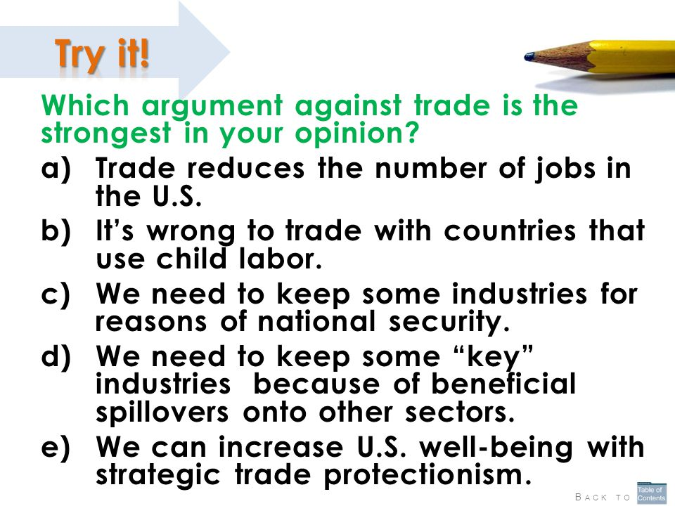 Which argument against trade is the strongest in your opinion