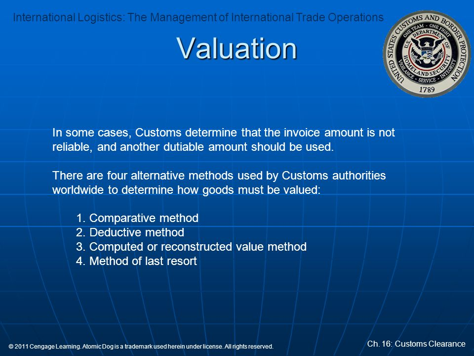 Valuation In some cases, Customs determine that the invoice amount is not reliable, and another dutiable amount should be used.