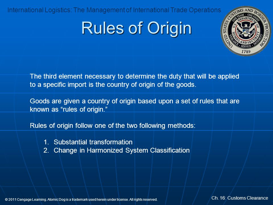 Rules of Origin The third element necessary to determine the duty that will be applied to a specific import is the country of origin of the goods.