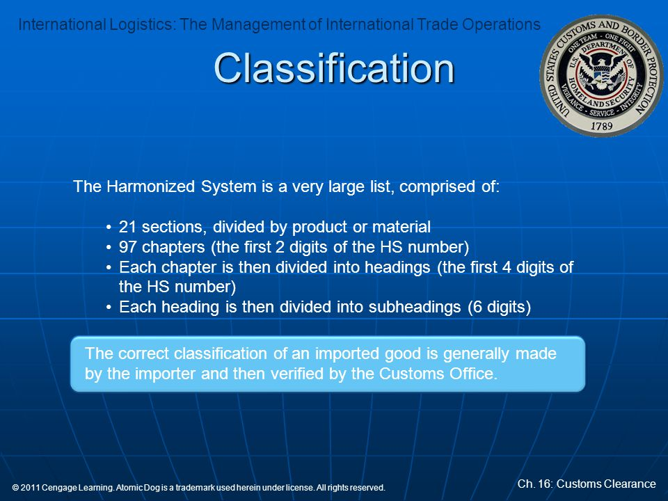 Classification The Harmonized System is a very large list, comprised of: 21 sections, divided by product or material.