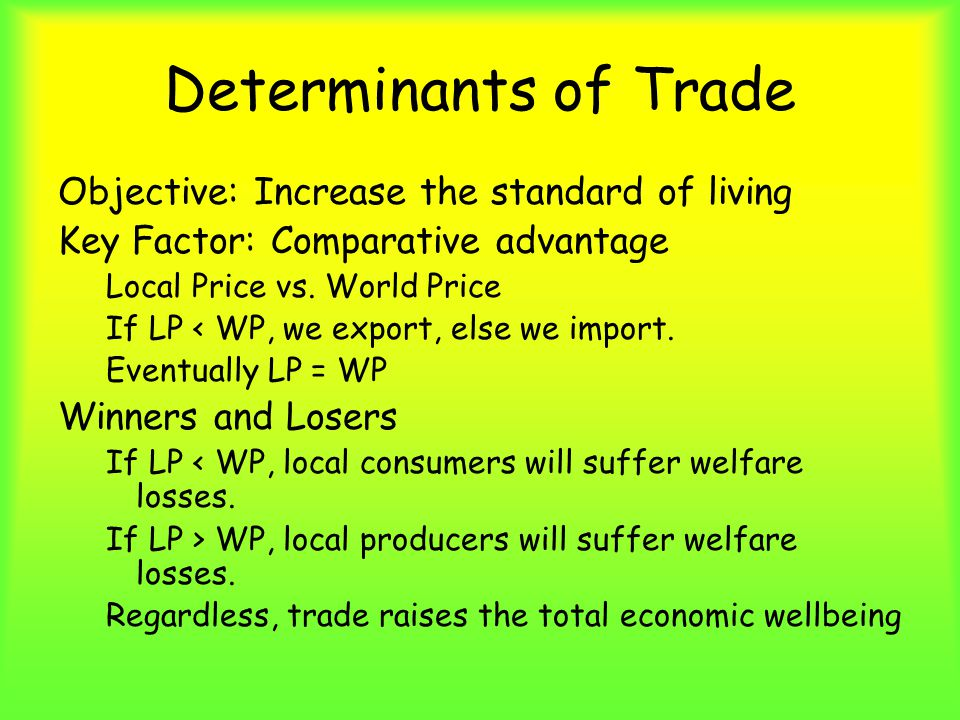 Determinants of Trade Objective: Increase the standard of living