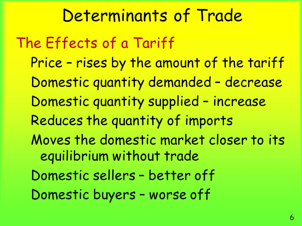 Determinants of Trade The Effects of a Tariff