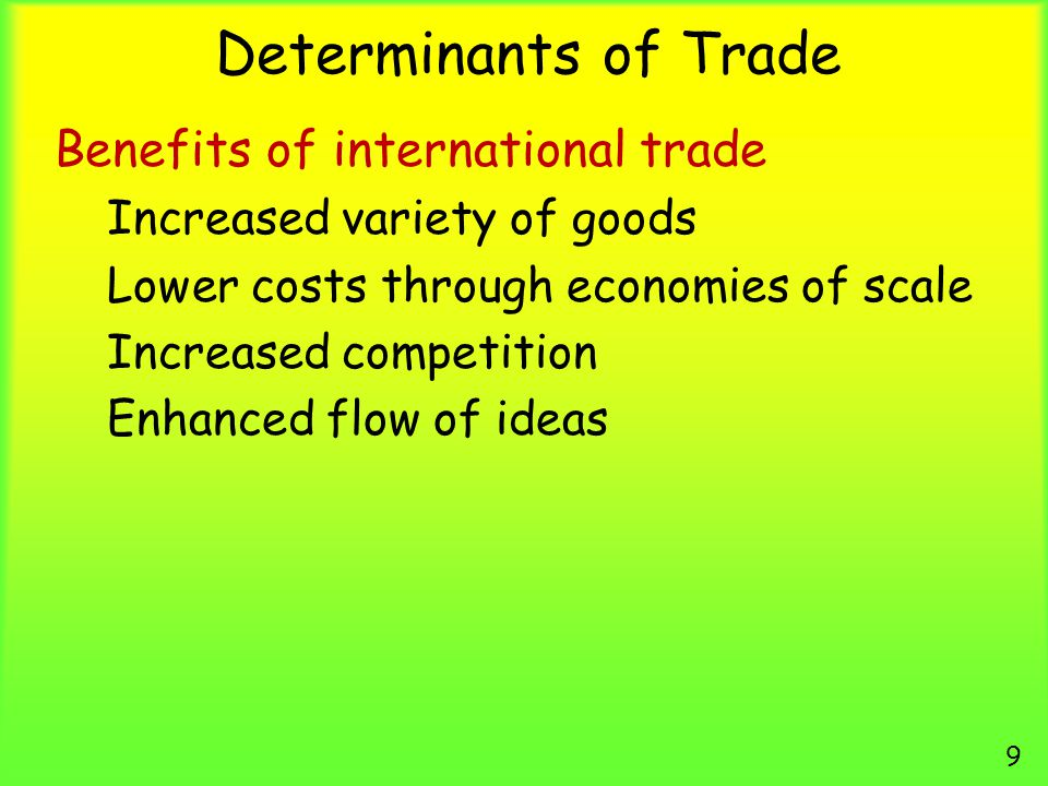 Determinants of Trade Benefits of international trade