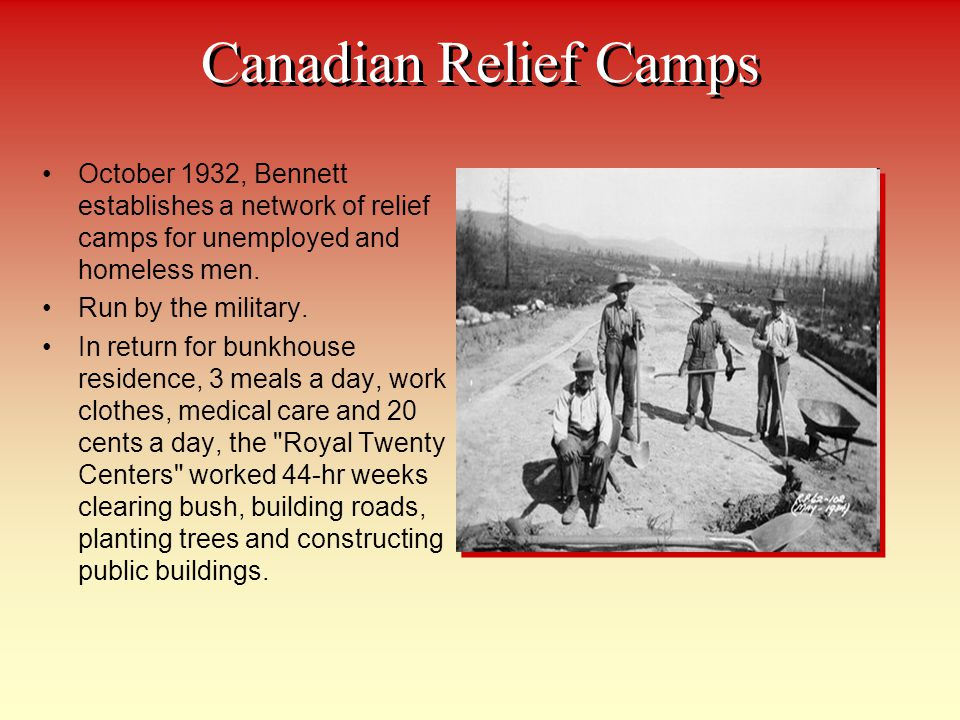 Canadian Relief Camps October 1932, Bennett establishes a network of relief camps for unemployed and homeless men.
