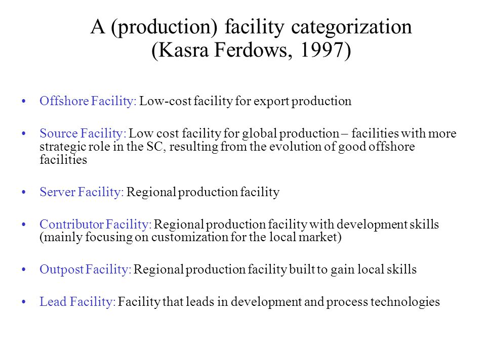 A (production) facility categorization (Kasra Ferdows, 1997)