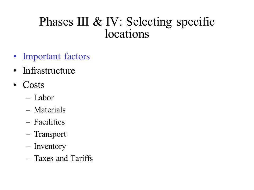Phases III & IV: Selecting specific locations