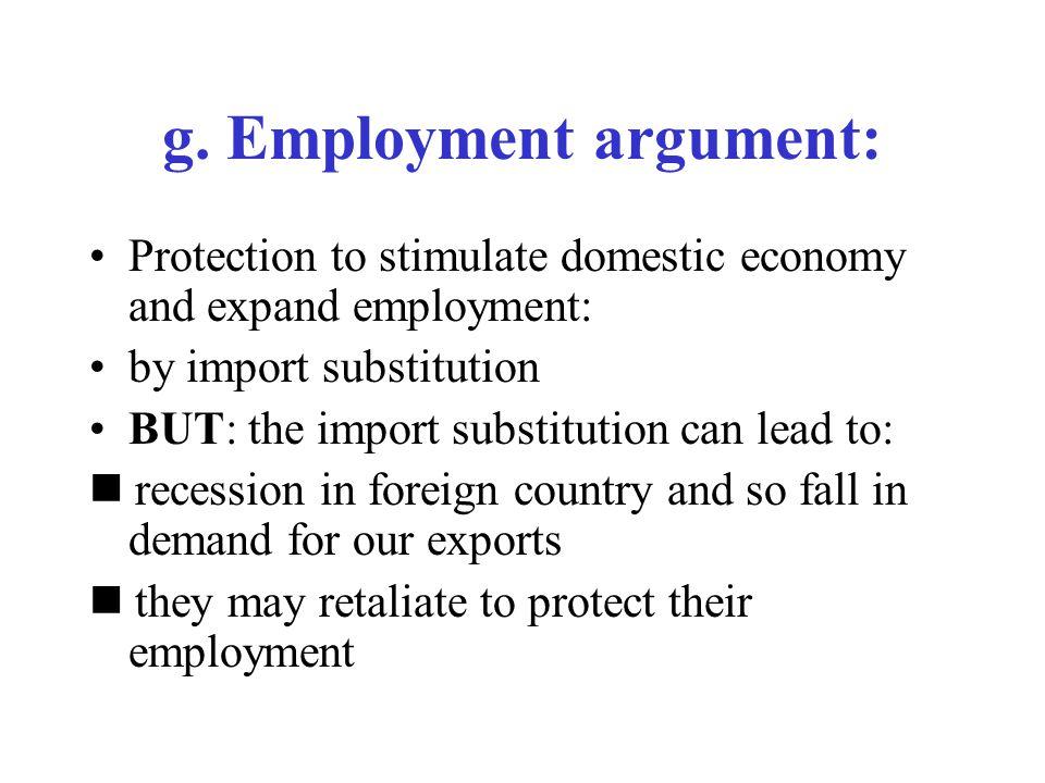 g. Employment argument: