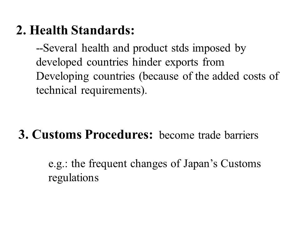 3. Customs Procedures: become trade barriers