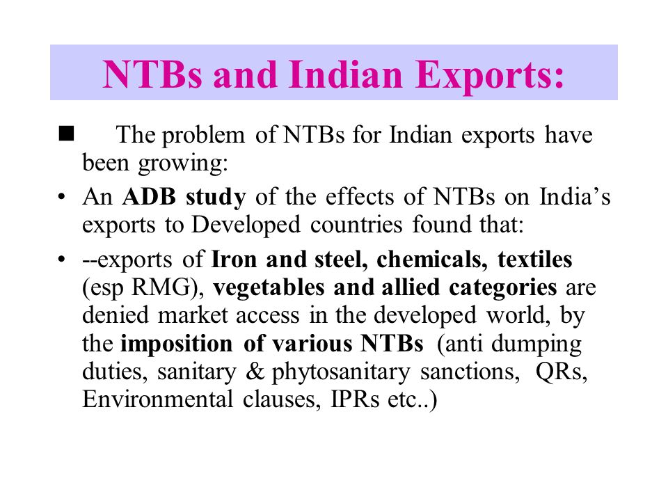 NTBs and Indian Exports:
