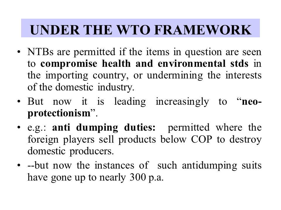 UNDER THE WTO FRAMEWORK
