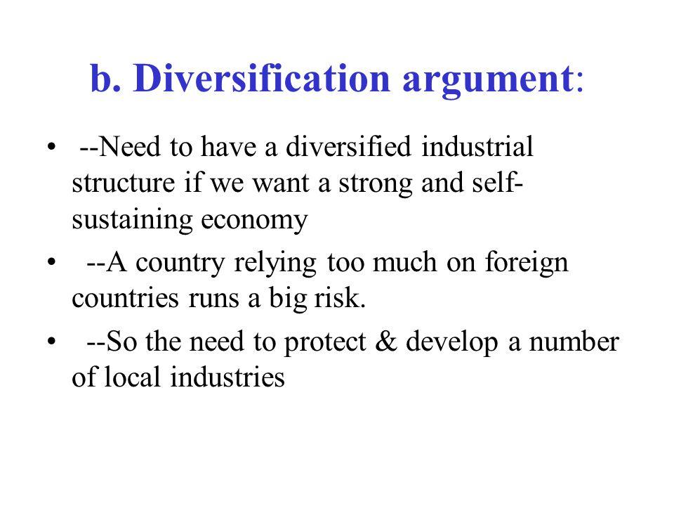 b. Diversification argument: