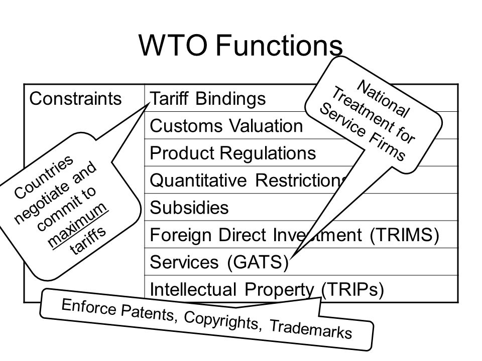WTO Functions Constraints Tariff Bindings Customs Valuation