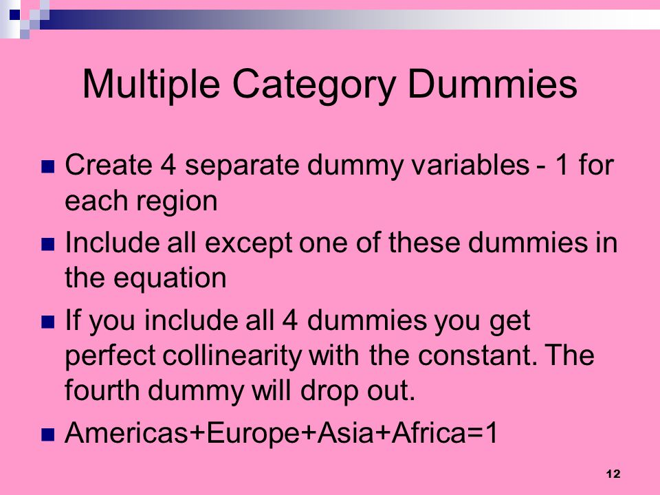 Multiple Category Dummies