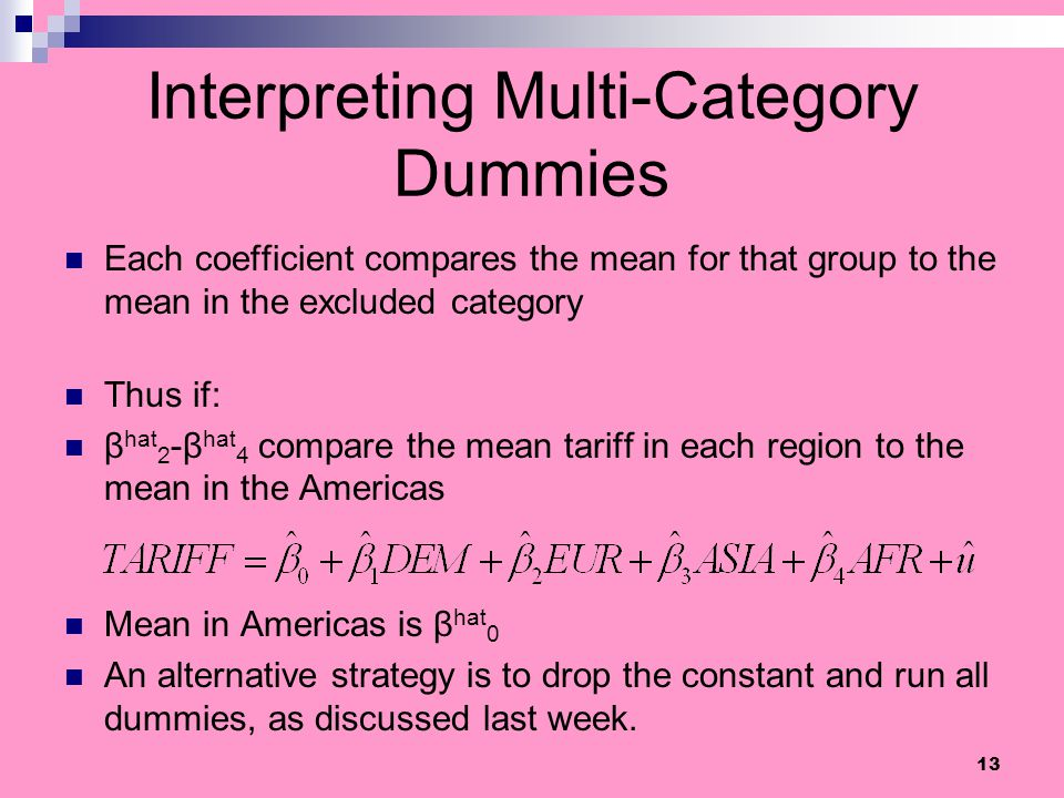 Interpreting Multi-Category Dummies