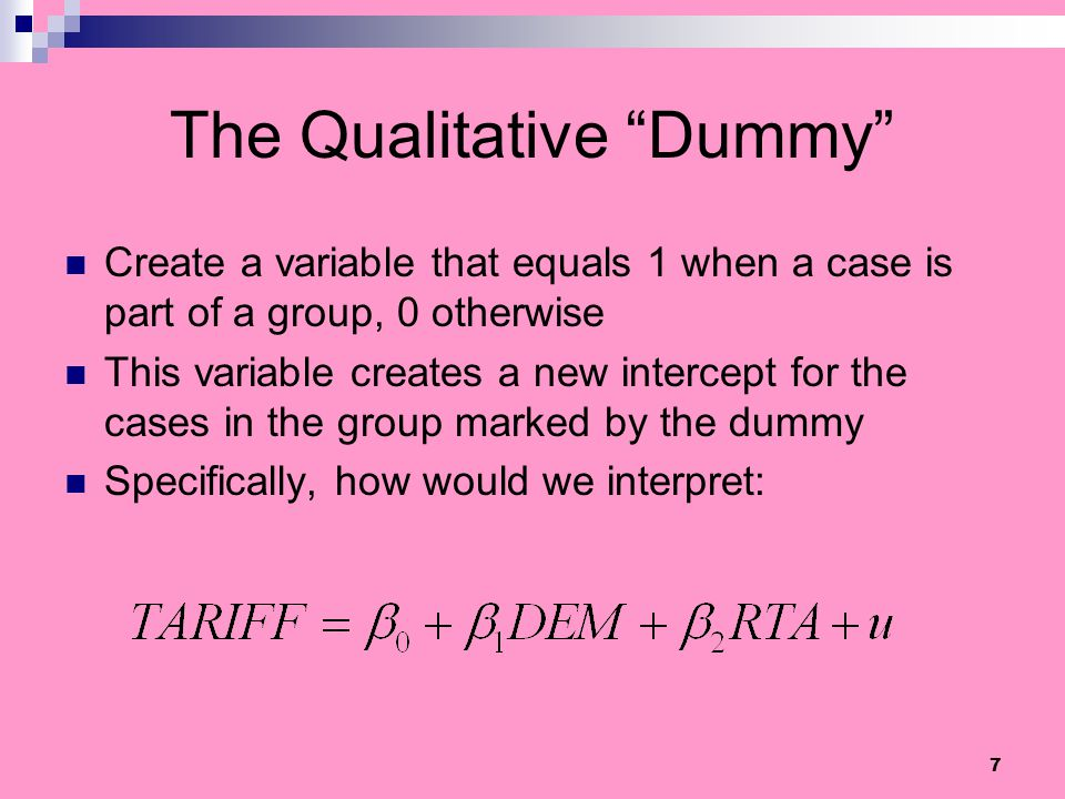 The Qualitative Dummy