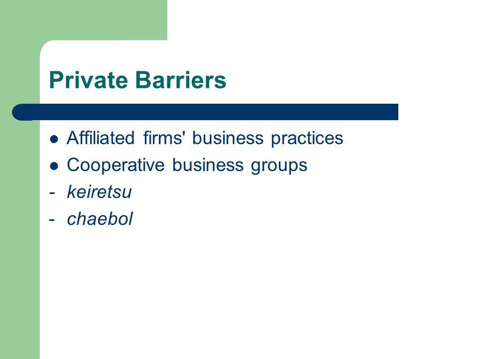 Private Barriers Affiliated firms business practices