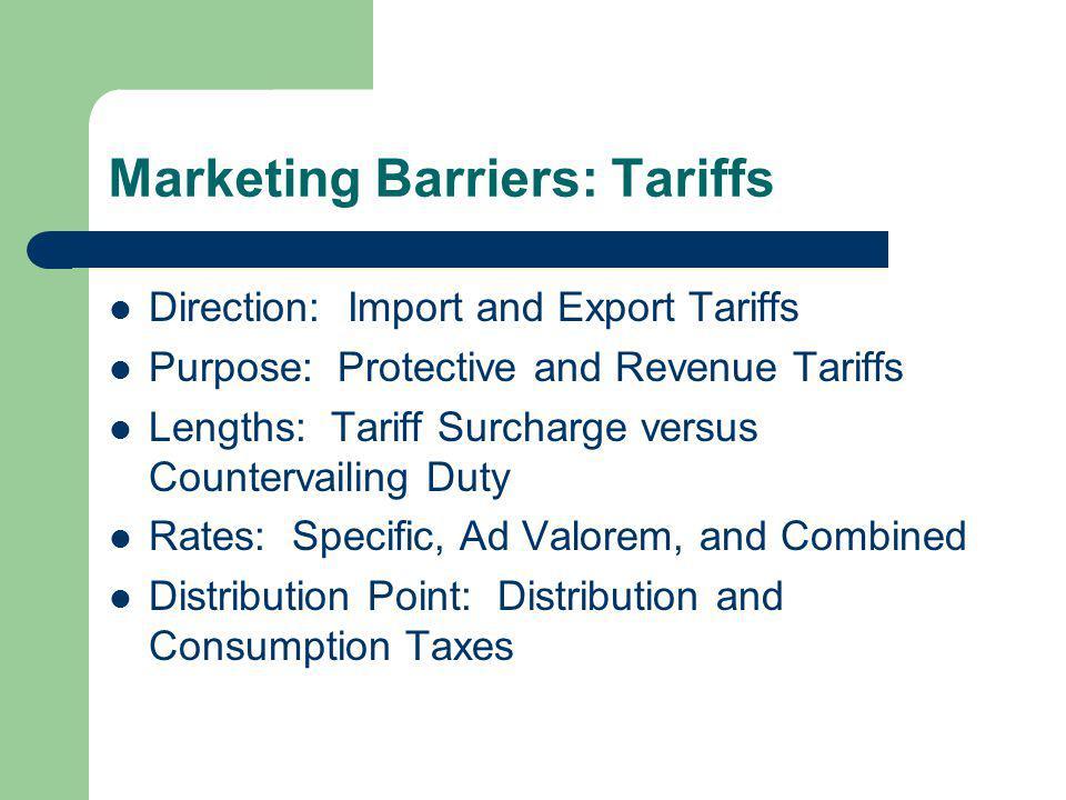 Marketing Barriers: Tariffs