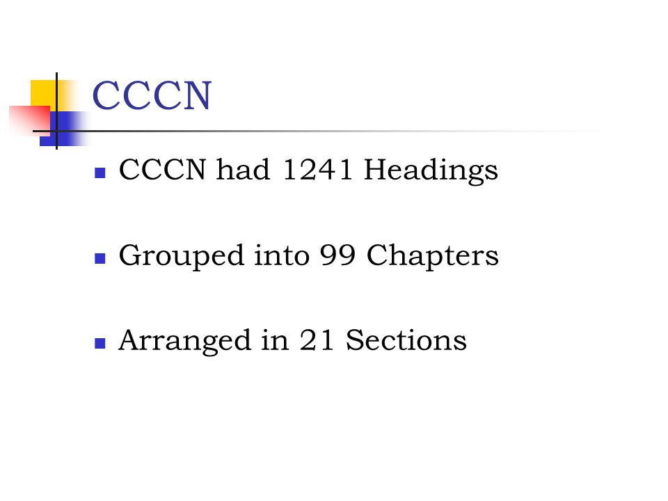 CCCN CCCN had 1241 Headings Grouped into 99 Chapters