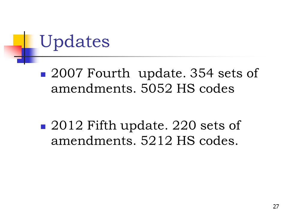 Updates 2007 Fourth update. 354 sets of amendments. 5052 HS codes