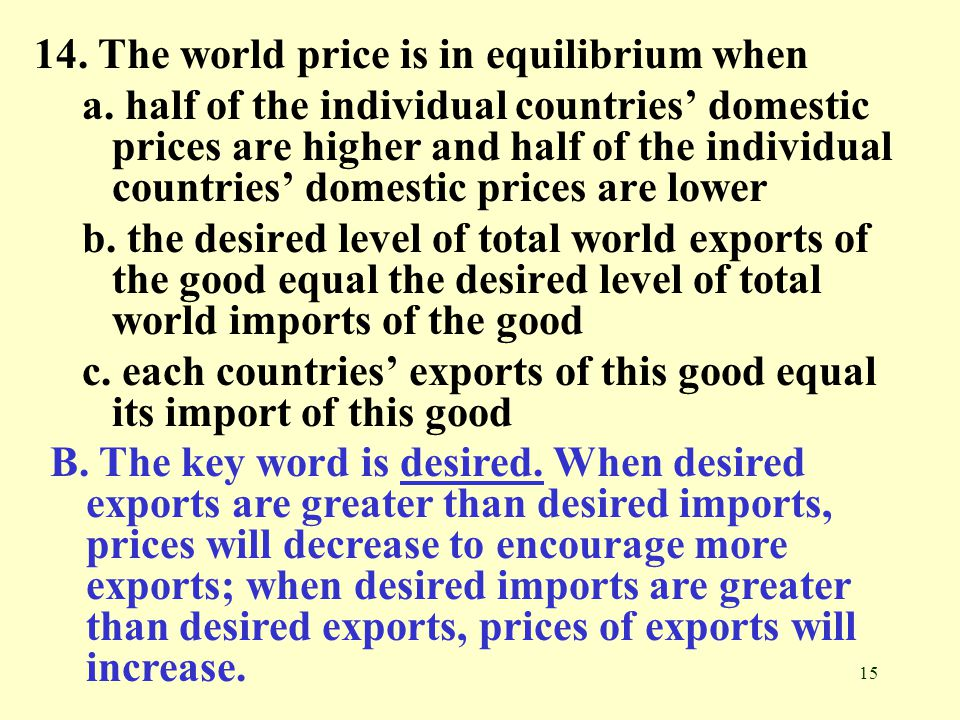 14. The world price is in equilibrium when