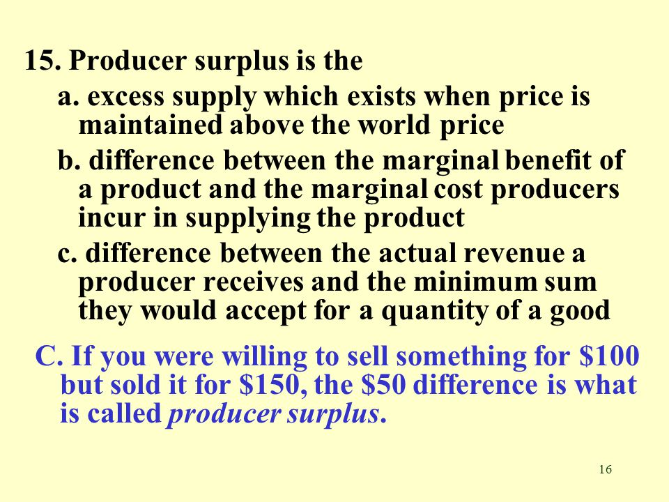 15. Producer surplus is the