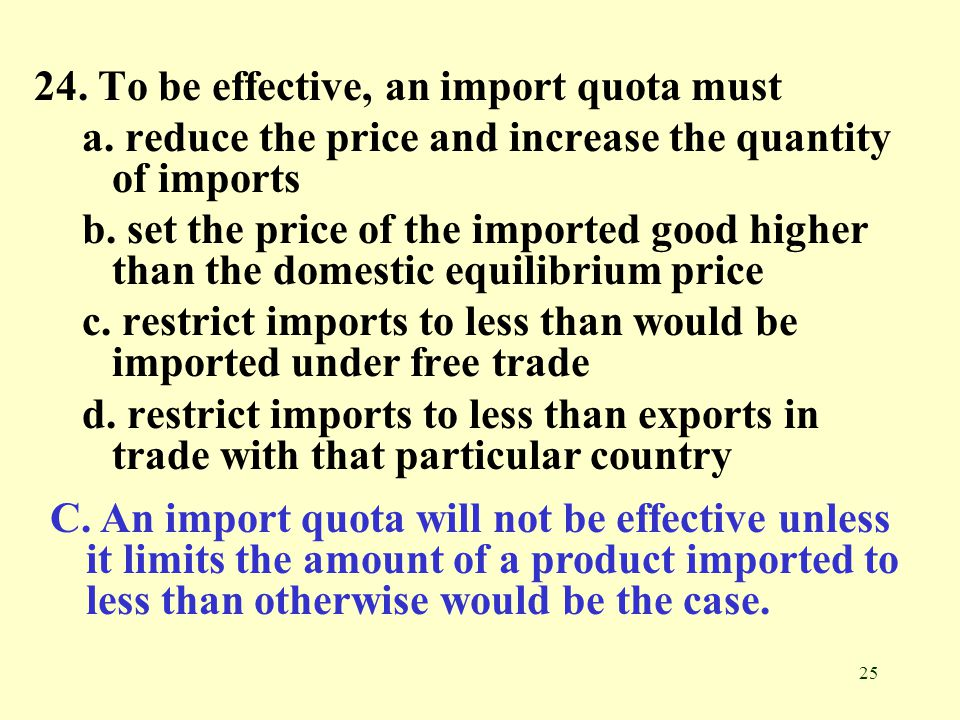 24. To be effective, an import quota must