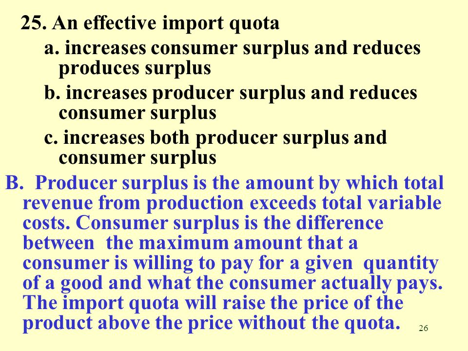 25. An effective import quota