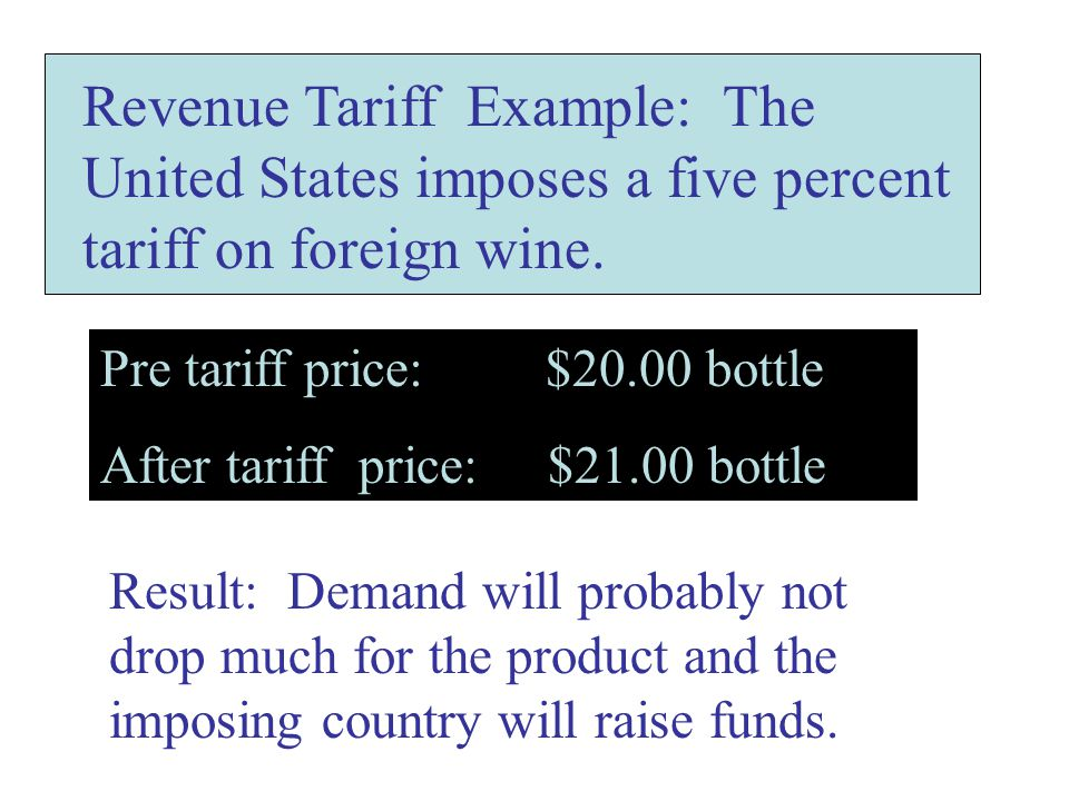 Revenue Tariff Example: The United States imposes a five percent tariff on foreign wine.