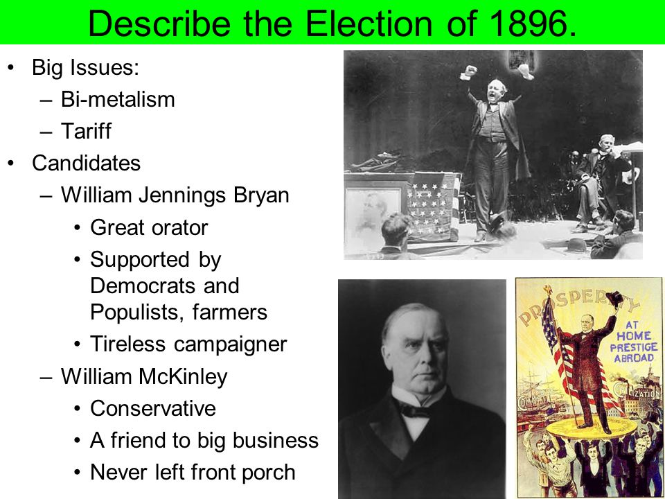 Describe the Election of 1896.