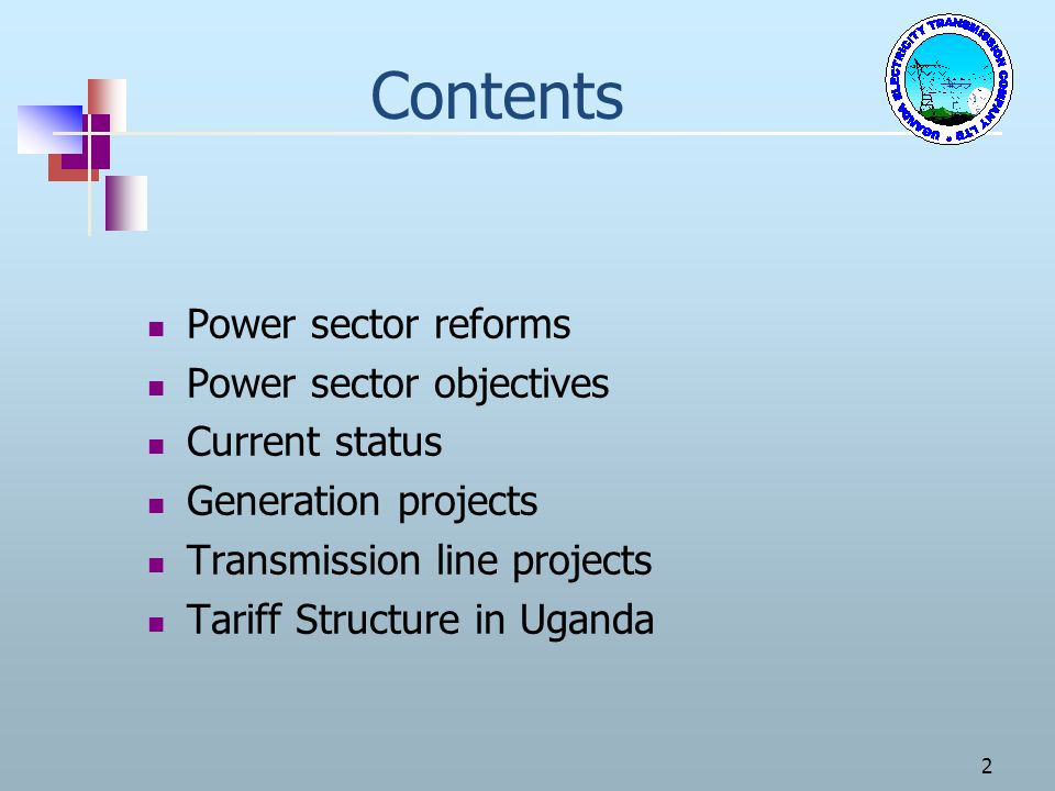Contents Power sector reforms Power sector objectives Current status