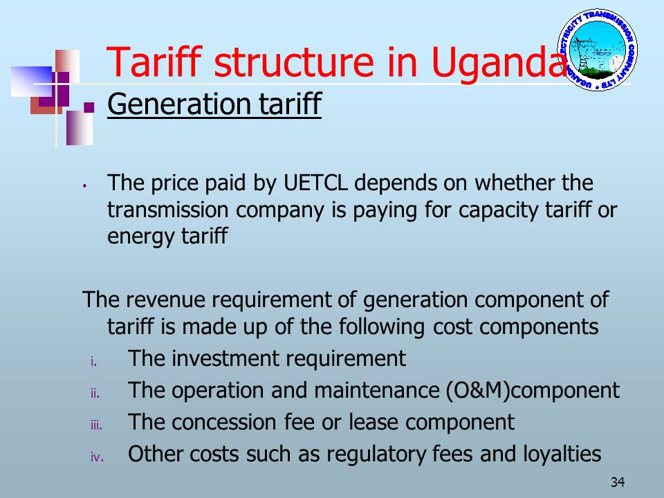 Tariff structure in Uganda