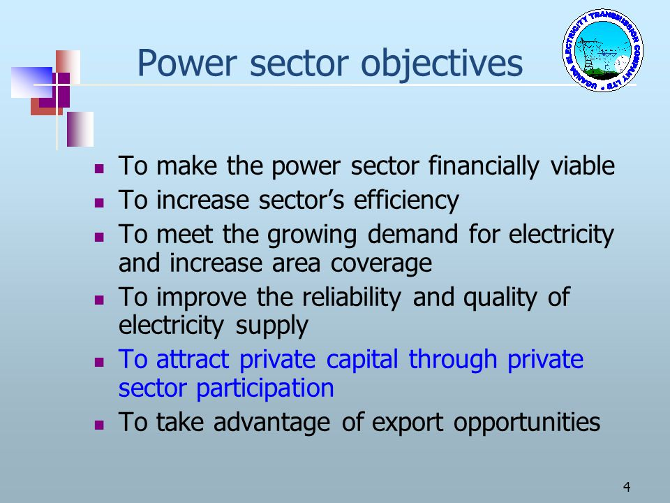 Power sector objectives