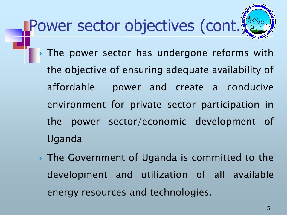 Power sector objectives (cont.)