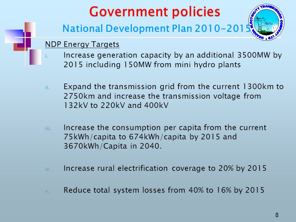 Government policies National Development Plan 2010-2015