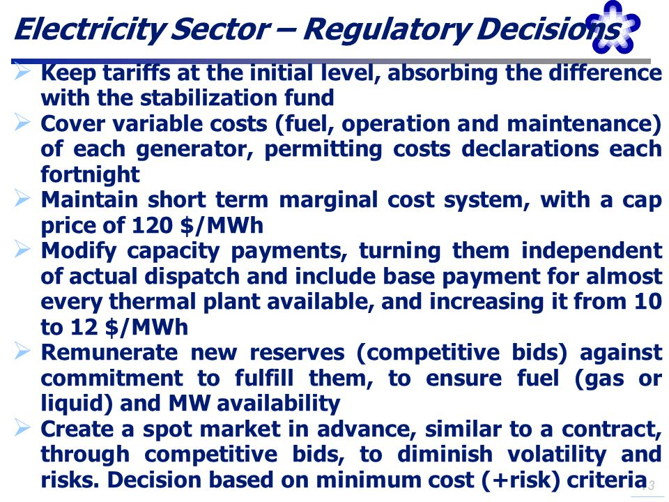 Electricity Sector – Regulatory Decisions