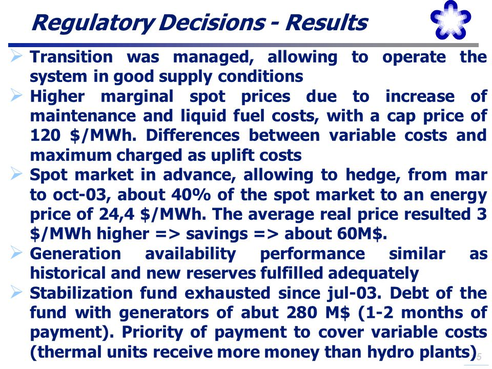 Regulatory Decisions - Results
