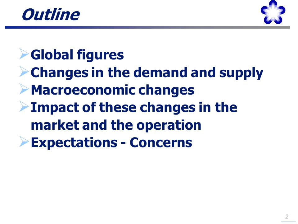 Outline Global figures Changes in the demand and supply