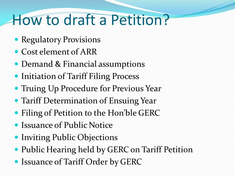 How to draft a Petition Regulatory Provisions Cost element of ARR