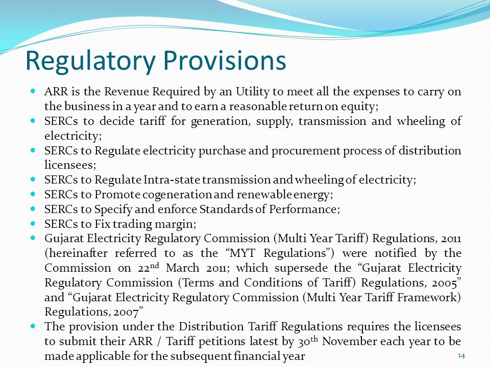 Regulatory Provisions