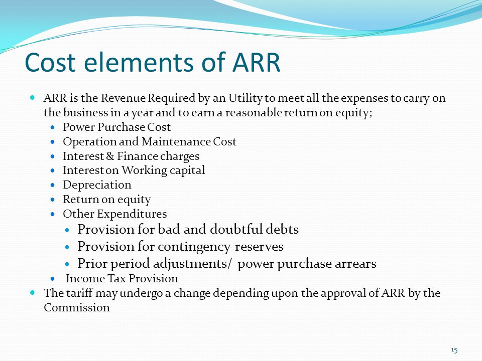 Cost elements of ARR Provision for bad and doubtful debts