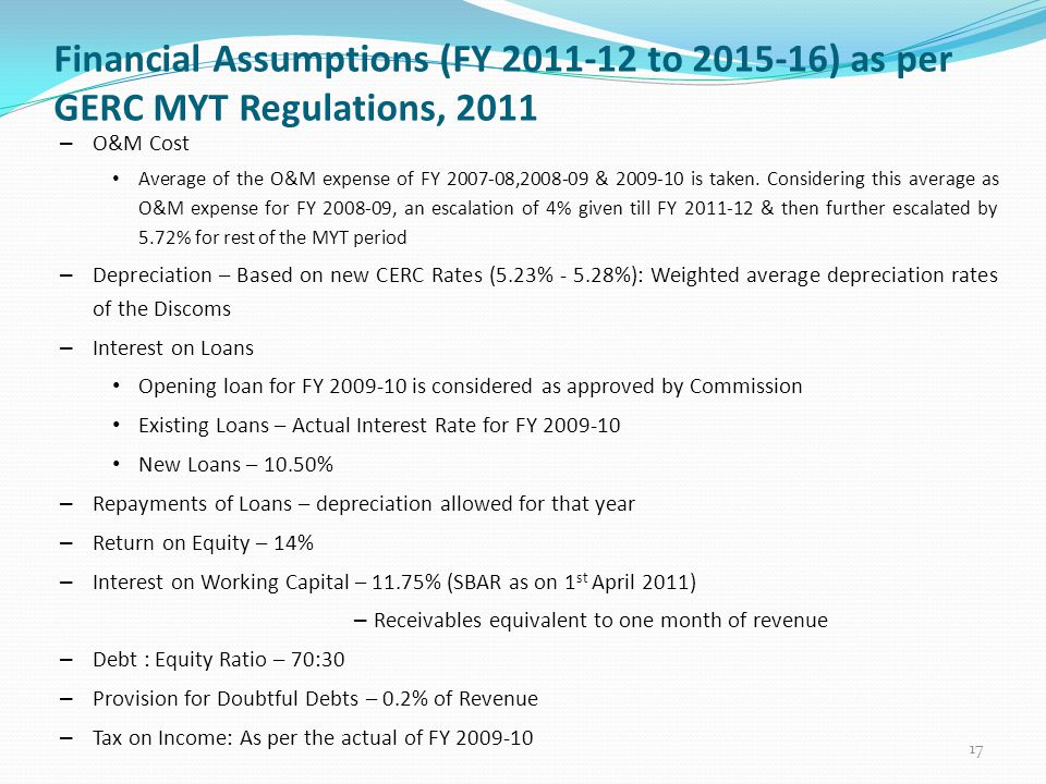 Financial Assumptions (FY 2011-12 to 2015-16) as per GERC MYT Regulations, 2011