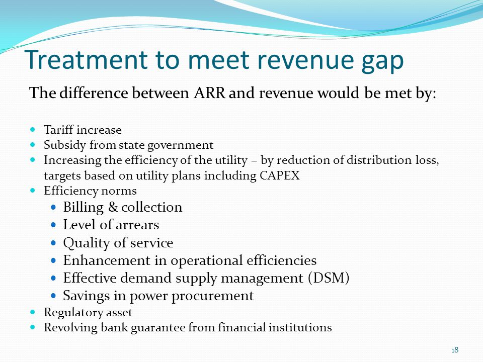 Treatment to meet revenue gap