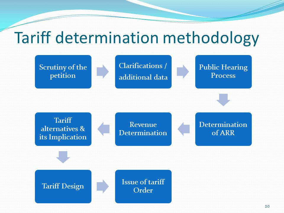 Tariff determination methodology