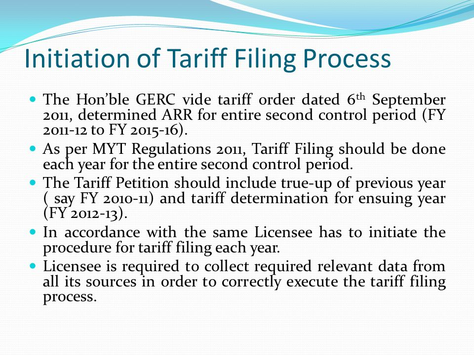 Initiation of Tariff Filing Process