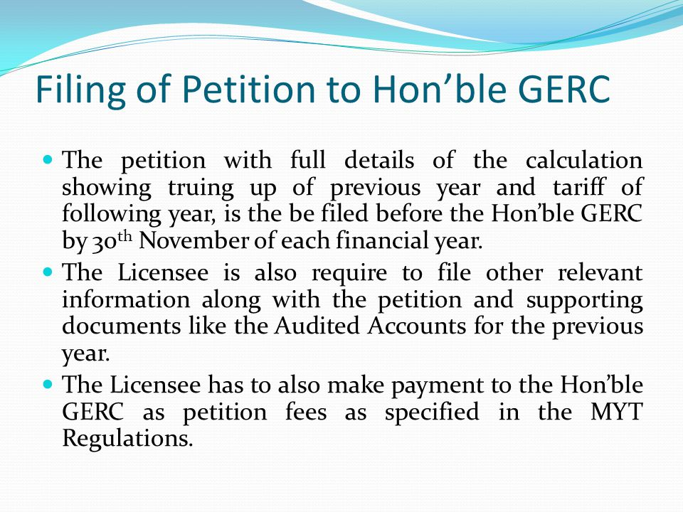 Filing of Petition to Hon'ble GERC